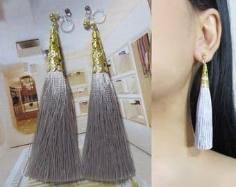 Ash Gray Tassel Clip-On Earrings |35J| Gold Filigree Clip-ons, Dangle Long Clip Earrings, Invisible Boho Bridal Non Pierced Clip Earrings