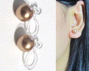 Wedding Clip-on Earrings,6mm Rose Gold Swarovski Pearl Stud Clip On earrings,Bridal Clip Earrings,Invisible Simple Clip-ons,non pierced