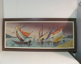 Mid Century Modern Sailboats Oil Painting by Fairchild