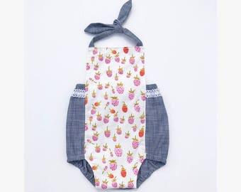 12-18 month strawberry romper // summer romper // halter romper // sunsuit // baby toddler outfit