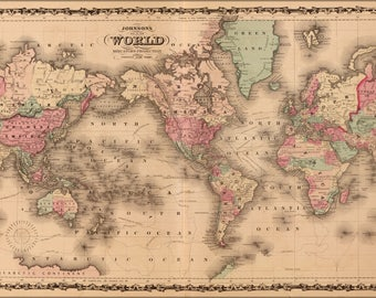 Poster, Many Sizes Available; Johnsons World Map 1862 P2