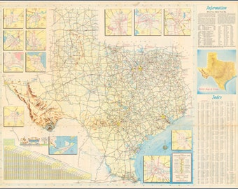 Poster Many Sizes Available 1956 Official Texas Highway Map Jpeg