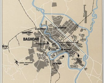 40% OFF SALE Poster, Many Sizes Available; Cia Map Of Baghdad Iraq 1992