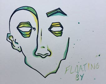 Ink and watercolor abstract face drawing