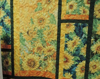 Giant Sunflower Quilt. throw or lap size blanket. sunflowers yellow green orange blue 4719