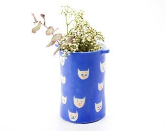 Big tube vase *Blue cats*