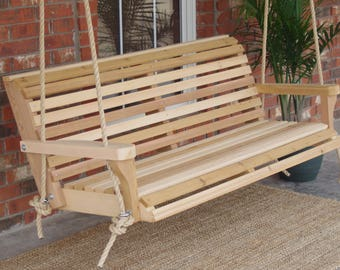Brand New 4 Foot Cedar Wood Classic Porch Swing with Hanging Rope - Free Shipping
