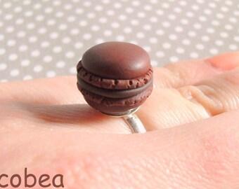 """Chocolate macaroon"" ring"