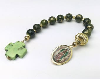 Our Lady of Guadalupe Chaplet.  Our Lady of Guadalupe Decade Rosary. Catholic Rosary Chaplet. Devotional Chaplet. Green Rosary.  #HD2