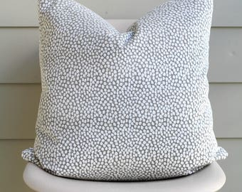 "22"" x 22"" White/Gray Dot Throw Pillow Cover - Soft Designer Fabric, COVER ONLY"