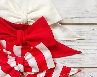 Gorgeous Wrap Trio (3 Gorgeous Wraps)- Blanc, Ketchup & Ruby Stripes Gorgeous Wraps; headwraps; fabric head wraps; headbands
