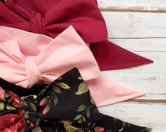 Gorgeous Wrap Trio (3 Gorgeous Wraps)- Burgundy, Pink & Vintage Cranberry Floral Gorgeous Wraps; headwraps; fabric head wraps; bows