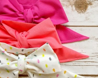 Gorgeous Wrap Trio (3 Gorgeous Wraps)- Pink Taffy, Coral & Sprinkles Gorgeous Wraps; headwraps; fabric head wraps; bows