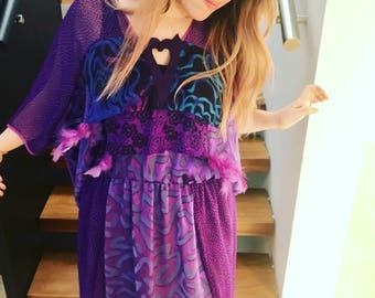 Amazing purple 80's vintage midi dress  12 - 16 by Shepherds of Canberra - unique fabric and feather embellishment