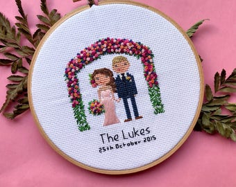 Custom Cross Stitch Wedding Portrait | Cotton Anniversary | Cotton Anniversary | House Warming Gift