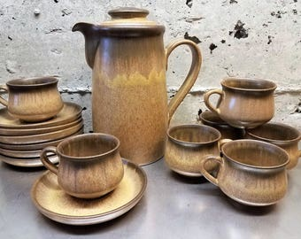 Vintage Denby-Langley Romany Brown Coffee Service Stoneware/Ceramic Coffee Carafe/Pot w/Service for 7 Coffee Cups & Saucers Vintage Coffee