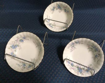 ROYAL ALBERT Blue Blossom Pattern - Berry / Dessert Bowls with Gold Trim - Set of 3,   1988