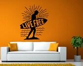 Live Free Sunset Surfboard Surfer Beach Water Sport Room Wall Sticker Decal Vinyl Mural Decor Art L2431