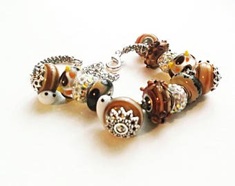 Lampwork animals bracelet caramel brown cuff snail unique brown lampwork handmade bracelet caramel jewelry snail lampwork beads gift for her