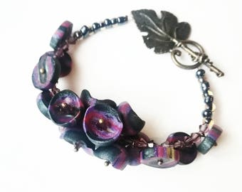 Purple polymer clay bracelet exclusive handmade jewelry green unique black gift for her for Mom big beads boho beadwork beaded glamor cuff