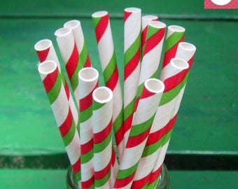 ON SALE Paper Straws, 50 Party Straws, Red and Green Party, Striped Paper Straws, Bulk Straws, Party Supplies, Christmas, Mardi Gras, St Pat