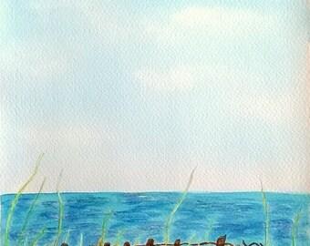 "Watercolor seascape ""Weeds"""