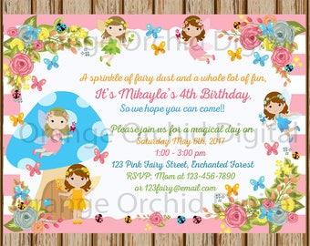 "Fairy Birthday Invitations- Enchanted Garden Birthday- Fairy Invitations- Fairy Party Invite- Sibling Invitations- 5""x7"" size- Digital Item"