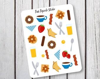 Breakfast Food Planner Stickers Designed for Erin Condren Life Panner Vertical