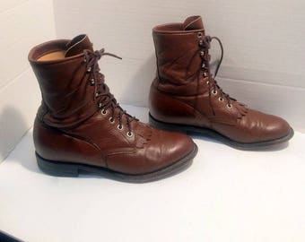 sz  6.5 D vintage caramel brown leather justin, lace up granny combat boots