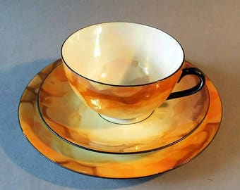 Beautiful Vintage Art Deco Orange Lustreware Fine Bone China Trio