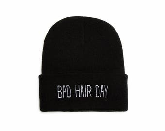 Bad Hair Day Beanie, Bad Hair Day Hat, Winter Hats For Women, Embroidered Beanie, Beanie with Skinny Words