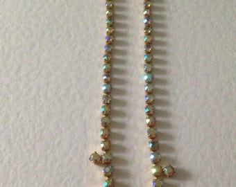 Vintage AB Crystal Necklace, 1950's Necklace, Vintage Wedding, Bridal, Vintage Gift