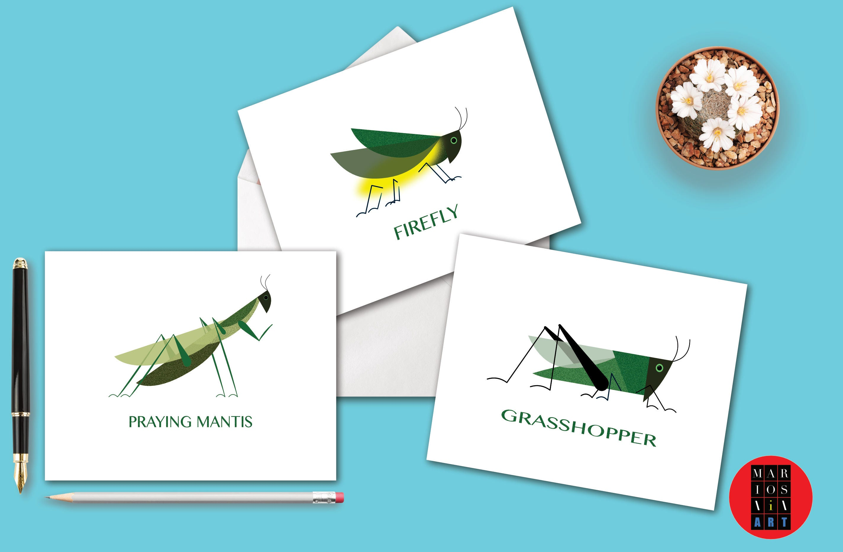 Stylized Insect Art Note Cards Of Grasshopper Firefly Praying
