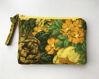 SMALL green and yellow vintage floral zippered pouch