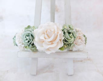 Off white, white, eucalyptus green wedding flower crown - natural head wreath - effortless bridesmaid hair accessories - flower girls