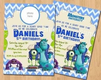 Monster Inc Invitation. Monster Inc Birthday Invitation. Monster Inc Printables. Monster University Invitation. Digital (you print)