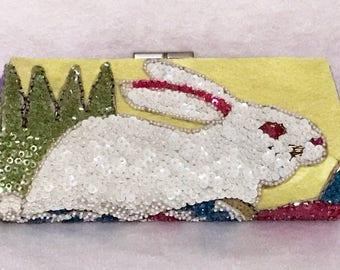 New EASTER Bunny & Eggs SEQUINS Clutch Purse Handmade Handbag OOAK