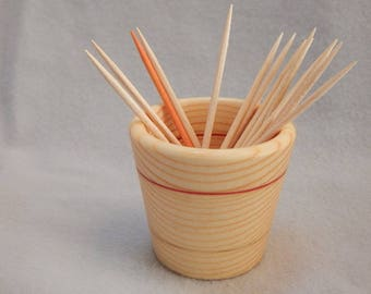Gift under 15 dollars, Wood toothpick cup, Pine wood cup, white wood, toothpick holder,