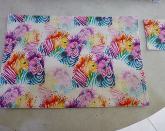 Placemat and Coaster Set. Tossed Rainbow Zebras Print.  Sturdy cotton fabric. Fully washable.