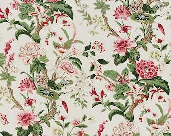 SCHUMACHER BOTANCIAL GARDENS Linen Fabric 10 yards Multi Pink Bark Green Fuchsia
