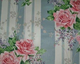 DESIGNER ROMANTIC SHABBY Rose Bouquets Stripe Fabric 10 Yards Robins Egg Blue Rose Green Multi