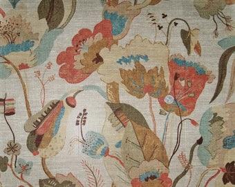 LEE JOFA KRAVET Nympheus Jacobean Linen Weave Fabric 10 Yards Adobe Clay Putty Aqua Multi