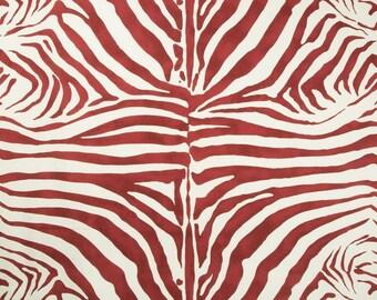 LEE JOFA KRAVET Zebra Cotton Linen Fabric 10 Yards Ruby Red