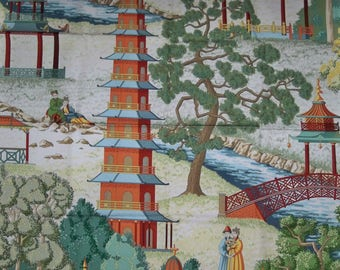 MANUEL CANOVAS Pagoda CHINOISERIE Cotton Print Fabric Remnant Multi Rouge 2A