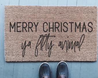 Merry Chrsitmas Ta Filthy Animal|Doormat