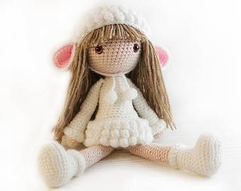 Crochet Mini Doll Pattern : Lamb doll Etsy