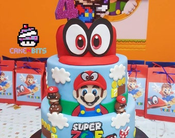 Inspired by the Super Mario Odyssey game birthday cake topper