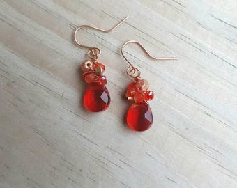 Red crystal cluster earrings