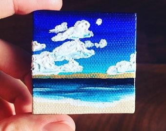 Mini Canvas Waves Ocean Clouds Sea Surf Beach Painting Wall Art Original Artwork
