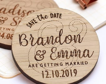 Wooden Save The Date Magnet, Rustic Save the Date, Rustic Wedding Save the Date Personalised Wedding Invite, Custom Wedding Magnet